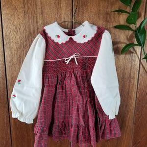 Vintage Red Plaid Girls Dress w/ Flower Detail